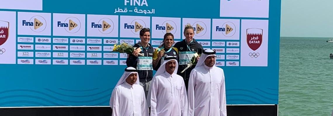 Maratonas Aquáticas - Ana Marcela Cunha vence etapa de Doha do Circuito Mundial; Allan do Carmo e Colonese vão ao Mundial
