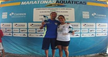Gabriela Soriano e Bruno Yamamoto vencem 5 km da Copa Brasil de maratonas aquáticas